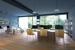 rendição 3D: ilustração do interior da decoração do café do PC do Internet ou escritório do PC do interior do trabalhador do comp Fotografia de Stock