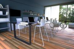 rendição 3D: ilustração do interior da decoração do café do PC do Internet ou escritório do PC do interior do trabalhador do comp Imagens de Stock