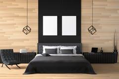 rendição 3D: ilustração do interior de madeira moderno da casa peça da sala da cama da casa Quarto espaçoso no estilo de madeira ilustração royalty free