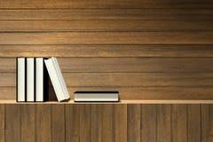 rendição 3D: Ilustração dos livros na prateleira de madeira ou na barra de madeira contra a parede de madeira Fotografia de Stock Royalty Free