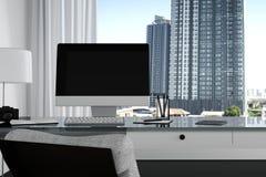 rendição 3D: ilustração próxima acima do desktop criativo do escritório do desenhista com computador vazio, teclado, câmera, lâmp ilustração do vetor