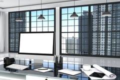 rendição 3D: ilustração próxima acima do desktop criativo do escritório do desenhista com computador vazio, teclado, câmera, lâmp ilustração royalty free
