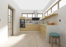 Rendição 3D interior da cozinha Fotografia de Stock