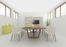 Rendição 3D interior da sala de jantar Fotos de Stock Royalty Free