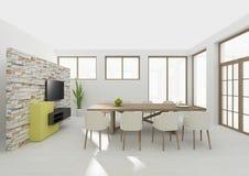 Rendição 3D interior da sala de jantar Foto de Stock Royalty Free