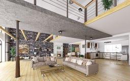 Rendição 3d interior do apartamento do sótão Imagem de Stock