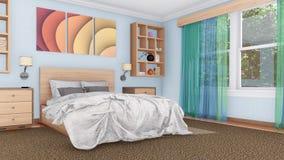 Rendição 3D interior do quarto moderno acolhedor Imagem de Stock
