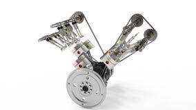 rendição 3d motor a combustão interna Pistões das peças de motor, eixo de cames, corrente, válvulas e outras peças mecânicas ilustração do vetor