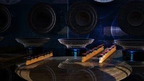rendição 3d Osciloscópio e uma sala da música Imagem de Stock Royalty Free