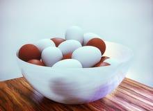 rendição 3d Ovos da páscoa em um prato profundo Fotos de Stock Royalty Free
