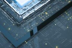 rendição 3d, placa de circuito e microplaqueta azul do fulgor imagem de stock