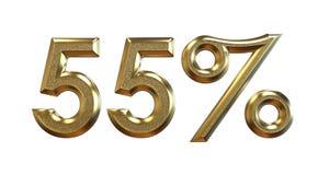 rendição 3d Porcentagens do ouro em um fundo branco ilustração stock