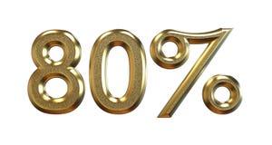 rendição 3d Porcentagens do ouro em um fundo branco Imagem de Stock