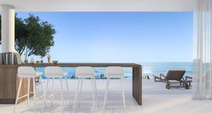 rendição 3d que janta a barra na casa de campo pequena perto da praia bonita e o mar no meio-dia com céu azul ilustração stock