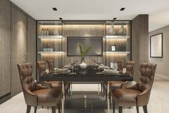 rendição 3d que janta o grupo na sala de jantar marrom luxuosa moderna Foto de Stock