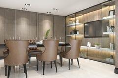 rendição 3d que janta o grupo na sala de jantar marrom luxuosa moderna Imagem de Stock Royalty Free