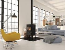 rendição 3d sala de visitas com a chaminé do ferro fundido no apartamento moderno do sótão Fotos de Stock Royalty Free