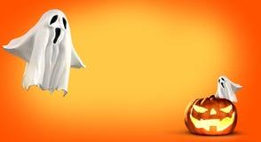 Rendição da abóbora e do fantasma 3d de Dia das Bruxas Imagens de Stock