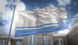 Rendição da bandeira 3D da república de Altai no céu azul que constrói Backgroun Imagens de Stock Royalty Free