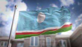 Rendição da bandeira 3D da república de Sakha no fundo da construção do céu azul Fotos de Stock Royalty Free