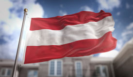 Rendição da bandeira 3D de Áustria no fundo da construção do céu azul Fotografia de Stock