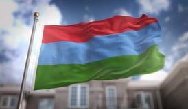 Rendição da bandeira 3D de Carélia no fundo da construção do céu azul Imagem de Stock