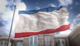 Rendição da bandeira 3D de Crimeia no fundo da construção do céu azul Fotografia de Stock Royalty Free