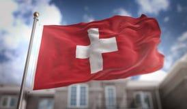 Rendição da bandeira 3D de Suíça no fundo da construção do céu azul Imagens de Stock Royalty Free