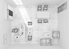 Rendição da grade 3D da opinião superior do mobiliário de escritório do VIP Imagem de Stock