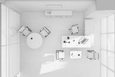 Rendição da grade 3D da opinião superior do mobiliário de escritório do VIP Fotografia de Stock Royalty Free