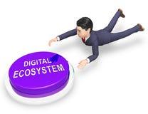 Rendição da interação 3d dos dados de sistema de Digitas Eco ilustração royalty free