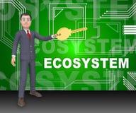 Rendição da interação 3d dos dados de sistema de Digitas Eco ilustração do vetor