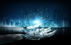 Rendição da mão 3D da abertura da máquina do robô inteligente ilustração stock