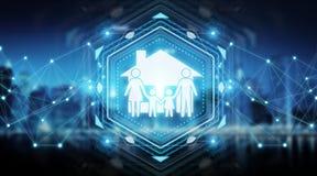 Rendição da relação 3D da aplicação do seguro do cuidado da família Imagens de Stock