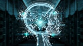 Rendição da relação 3D do cyborg da inteligência artificial de Digitas ilustração do vetor