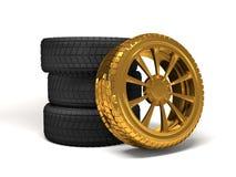 Rendição da roda 3d do ouro do carro Fotografia de Stock Royalty Free