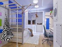 Rendição da sala do ` s das crianças do design de interiores ilustração royalty free