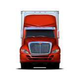 Rendição da vista dianteira do semi-caminhão vermelho e branco Imagens de Stock