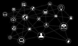 Rendição da Web 3D dos dados de conexão da tecnologia do círculo Imagens de Stock Royalty Free