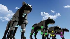 Rendição das panteras 3D da ficção científica da máquina Fotos de Stock Royalty Free