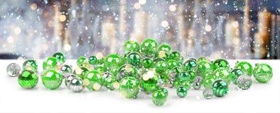 Rendição das quinquilharias 3D do verde e do White Christmas Foto de Stock Royalty Free