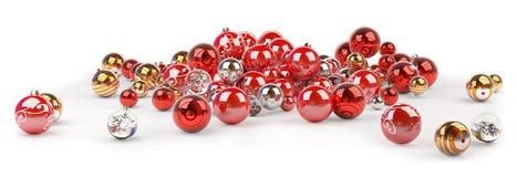 Rendição das quinquilharias 3D do vermelho e do White Christmas Foto de Stock Royalty Free