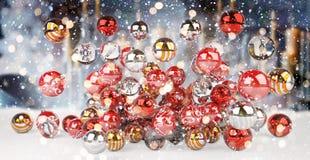 Rendição das quinquilharias 3D do vermelho e do White Christmas Imagens de Stock Royalty Free