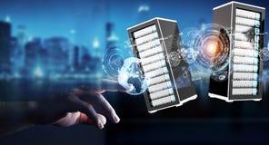 Rendição de conexão do centro de dados 3D da sala dos servidores do homem de negócios Fotografia de Stock