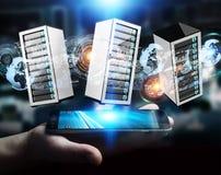 Rendição de conexão do centro de dados 3D da sala dos servidores do homem de negócios Imagem de Stock Royalty Free