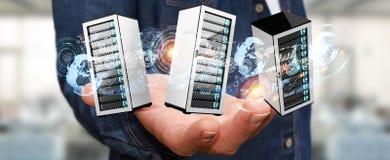 Rendição de conexão do centro de dados 3D da sala dos servidores do homem de negócios Fotos de Stock Royalty Free
