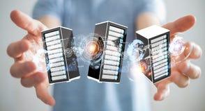 Rendição de conexão do centro de dados 3D da sala dos servidores do homem de negócios Fotos de Stock