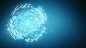 Rendição de explosão do holograma 3D da esfera do triângulo de Digitas Imagem de Stock
