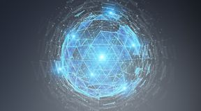 Rendição de explosão do holograma 3D da esfera do triângulo de Digitas Fotos de Stock Royalty Free