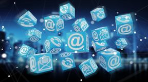 Rendição de flutuação do contato 3D do cubo Imagens de Stock Royalty Free